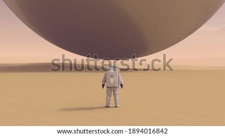 Astronaut Space Explorer and Large Alien Silver Orb Sphere Floating above a Hard Desert 3d illustration 3d render