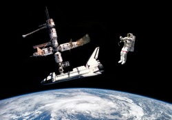 Astronaut, space shuttle and space station - Elements of this image furnished by NASA