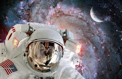 Astronaut spaceman helmet outer space station satellite galaxy moon. Elements of this image furnished by NASA.