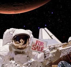 Astronaut spaceman holding sign