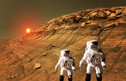 Astronaut spaceman planet Mars surface martian kid child space landscape. Elements of this image furnished by NASA.
