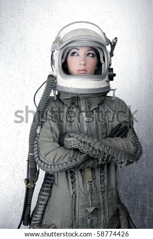 astronaut spaceship aircraft helmet fashion woman silver background