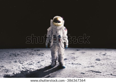 Astronaut standing on the moon #386367364