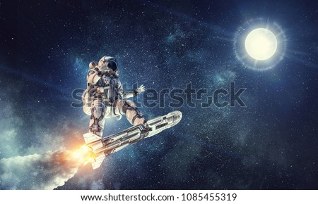 Astronaut surfing dark sky. Mixed media
