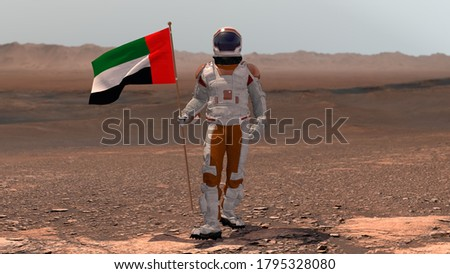 Astronaut walking on Mars with UAE flag. Exploring Mission To Mars Red Planet. Futuristic Colonization Space Exploration Concept. 3d rendering. Colony on Mars.