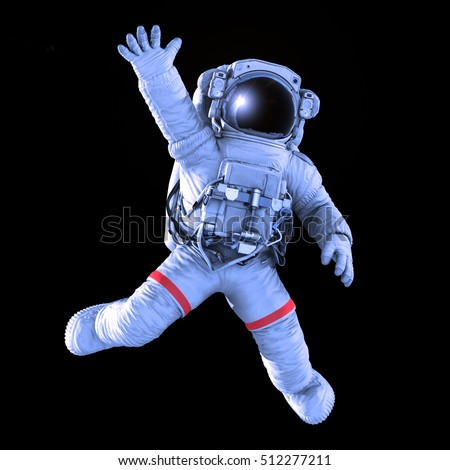 Astronaut waving on a black background, image with a work path