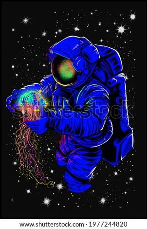 Astronaut with a colored jellyfish in his hands, in the starry sky, black background, print.