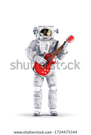 Astronaut with guitar / 3D illustration of space suit wearing male figure playing red electric guitar isolated on white studio background Stock photo ©