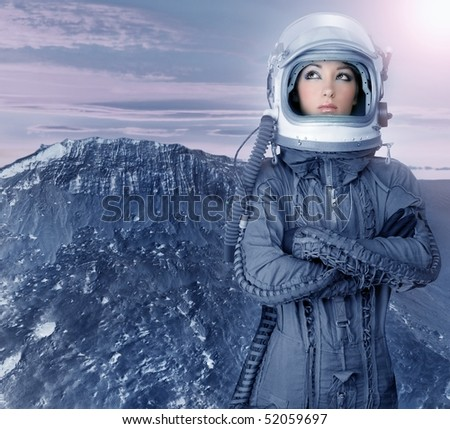 astronaut woman futuristic metaphor moon out space planets [Photo Illustration]