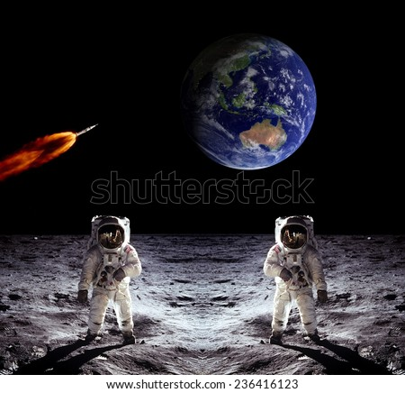 Astronauts Earth spaceman Moon space spaceship. Elements of this image furnished by NASA.