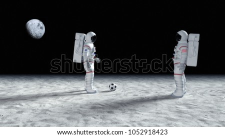 Astronauts having fun on the planet surface. Bizarre scene from the space exploration. Made up Logo and Flag On Suit!