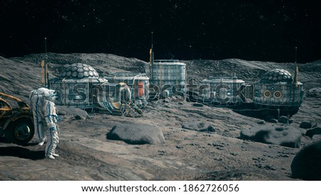 Astronauts near their lunar rover admire the lunar base of their lunar colony. View of the lunar surface and space base. 3D Rendering.