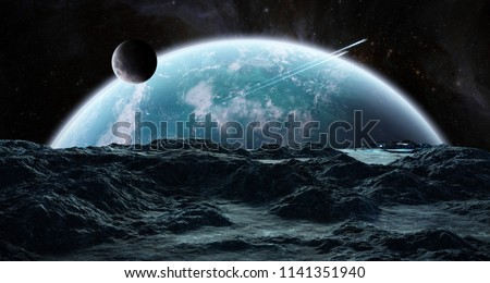 Astronauts with spaceship exploring an asteroid in space 3D rendering elements of this image furnished by NASA