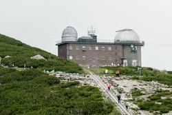 Astronomical and meteorological observatory near Skalnate pleso or tarn or lake in the High Tatras, Slovakia.