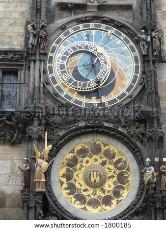 Astronomical Clock Close Up - stock photo