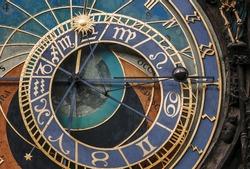 astronomical clock in Prague Czech Republic close-up.