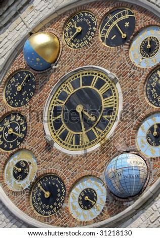 """Astronomical clock of the famous """"Zimmer tower"""" in Lier. Located within the province of Antwerpen, Belgium. - stock photo"""