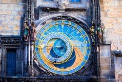 Astronomical Clock Orloj closeup in Czech Republic, Europe. Vintage style. Prague clock tower detail. Famous attraction residents of Praga