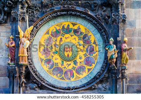 Astronomical Clock Orloj closeup in Czech Republic, Europe. Vintage style. Prague clock tower detail. Famous attraction residents of Praga