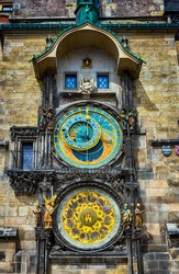 Astronomical Clock Prague Orloj in the Old Square of Prague, Czech Republic.  Architecture and landmark of Prague, postcard of Prague