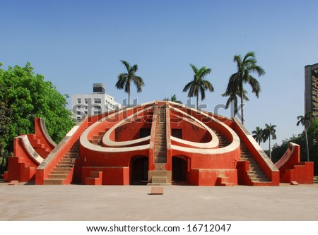 Astronomical instrument at Jantar Mantar observatory, Delhi, India
