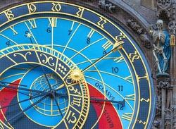 Astronomical or Solar Clock with skeleton sculpture, Prague Old Town, Czech Republic.
