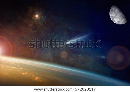 Astronomical scientific background - bright comet approaching to planet Earth in space. Elements of this image furnished by NASA.