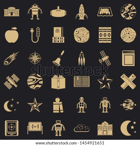Astronomy book icons set. Simple style of 36 astronomy book icons for web for any design
