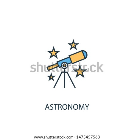 astronomy concept 2 colored line icon. Simple yellow and blue element illustration. astronomy concept outline symbol design