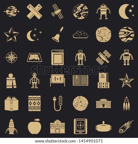 Astronomy exploration icons set. Simple style of 36 astronomy exploration icons for web for any design