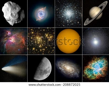 Astronomy. From top left: asteroid, planetary nebula, globular cluster, planet, nebula, galaxy cluster, Sun, supernova, comet, Moon, galaxy, supernova remnant. Elements of this image furnished by NASA