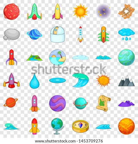 Astronomy icons set. Cartoon style of 36 astronomy icons for web for any design