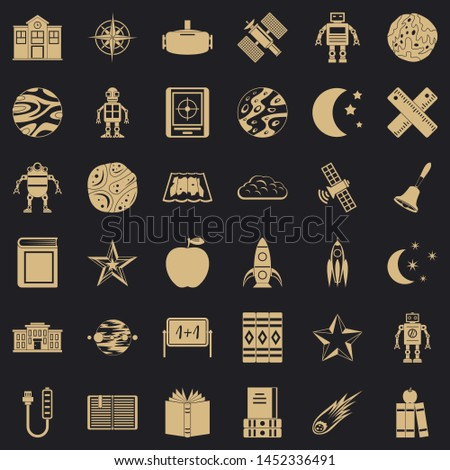 Astronomy icons set. Simple style of 36 astronomy icons for web for any design