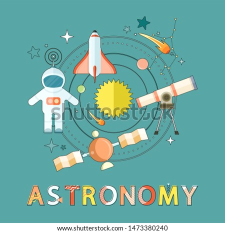 Astronomy poster with astronaut and rocket, comets and stars, constellations and star shapes, telescope and orbiting satellite with planets raster icons