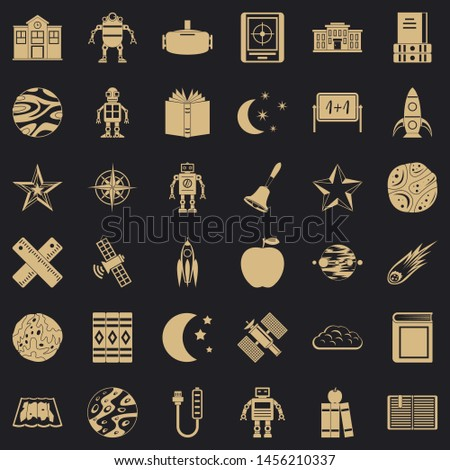 Astronomy robot icons set. Simple style of 36 astronomy robot icons for web for any design