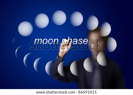 astronomy teacher drawing moon phase phenomenon or lighting effect on planet