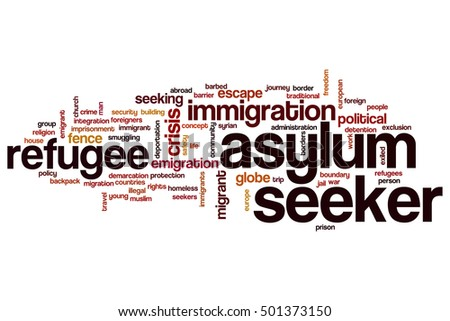 Asylum seeker word cloud concept