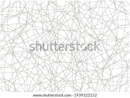 Asymmetrical texture with random chaotic round black lines, abstract geometric pattern.  Black and white illustration of design element for creating modern art backgrounds, patterns. Grunge art style Zdjęcia stock ©