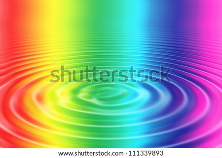 At a colorful water surface are shown circles.