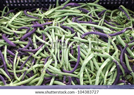 At a Farmers' Market: Organically grown green beans are on display for sale
