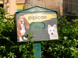 At a shopping center in Spain there is this green box for dog waste on a bush, which looks like a mailbox. Translation of pipican is dog toilet.