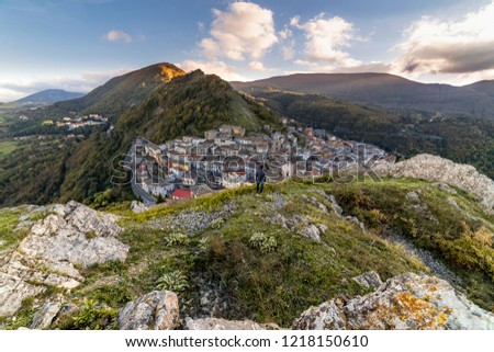 At about 1000 meters asl, a panoramic view of San Fele. Self Portrait. #1218150610