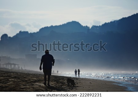At cold evening mature man walking on the beach with his dog, silhouette of adult man walking on the sand, amazing dark silhouette of mountains around bay, wet sand and sea breeze in cold color