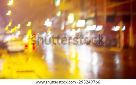 At night the streets of rain with bokeh background