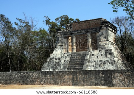At one end of the Great Ball Court is the North Temple, popularly called the Temple of the Bearded Man. Located in the Mayan city of Chichen Itza, Mexico.