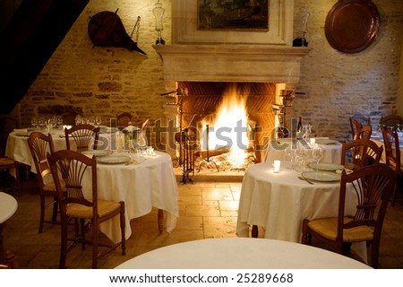 at restaurant warm ambience with fire place