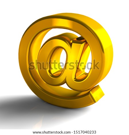 At Sign Symbol 3D Gold Color, 3d render isolated on white background #1517040233
