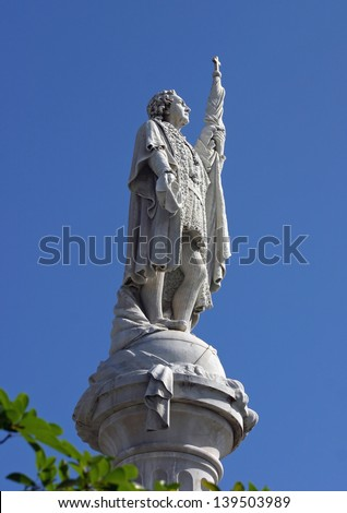 At statue of Christopher Columbus in St. Kitts, West Indies