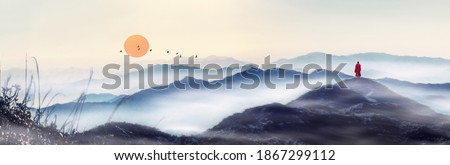 At sunrise, in the distant mountains, a line of geese flies in the sky, and a monk moves towards the distance. Chinese painting style of Zen landscape painting. Stock fotó ©