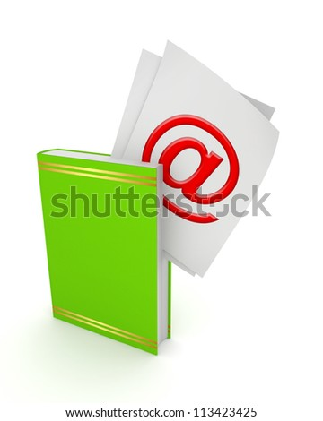 AT symbol in a green book.Isolated on white background.3d rendered.